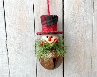 Snowman bell ornament, snowman bell, rustic bell snowman ornament