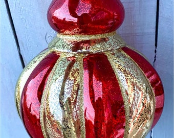 Red and gold ornament, large red finial ornament, plastic finial ornament, finial Ornaments, Everyday ornaments