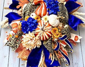 Ritzy Glitzy Wreaths Fall Swag, Autumn Swag, cheetah Wreath, Fall Decor, Autumn Wreath, Autumn Decor, Harvest Wreath, pumpkin swag