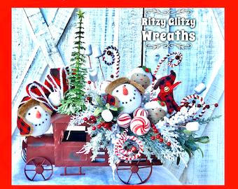Snowman VIntage TRuck Centerpiece, Snowman Centerpiece, holiday centerpiece, Chrismas Centerpiece, Winter Snowman Decor