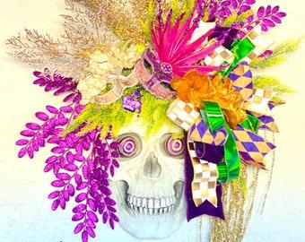 Ritzy Glitzy Wreaths Halloween wreath for front door, Skull wreath for front door, skull wall decor for home decor, fall front door wreath