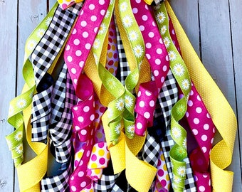 Summer Bow, wreath bow, Door Bow, Lantern Bow, stairway bow, Big bow, rag bow, polka dot bow, Daisy Bow,