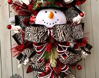 Ritzy Glitzy Wreaths Snowman Wreath, snowman swag, Christmas Ornament Wreath,  Front Door Wreath, Winter Door Swag, Snowman Decorations