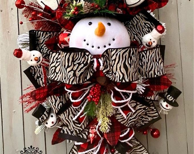 Featured listing image: Ritzy Glitzy Wreaths Snowman Wreath, snowman swag, Christmas Ornament Wreath,  Front Door Wreath, Winter Door Swag, Snowman Decorations