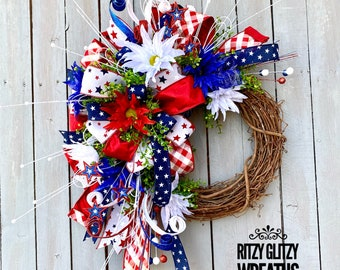Patriotic Wreath for Front Door, Patriotic Front Door Wreath. American Wreath for Front Door/4th of July Wreath for Front Door/summer wreath