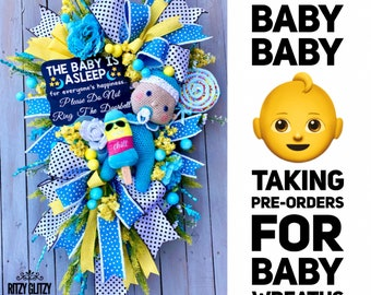 Baby Wreath, Baby Boy Wreath, Baby Girl Wreath, Baby Gift, Expectant Mothers, mother-to-be, baby shower gift, baby gifts, baby decoration