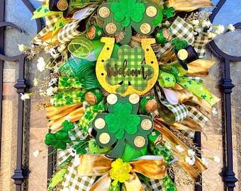 St Patricks Day Wreath, Irish wreath, Irish Swag, Irish Luck, Pot of Gold, over the rainbow, lucky charm, st paddy day, st Patty day, Irish