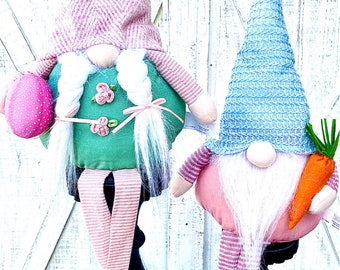 Easter Gnomes, gnome set, plush gnomes, Easter Decor, Shelf sitter gnomes