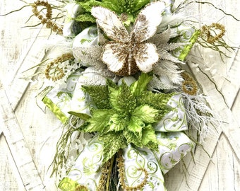 Ritzy Glitzy Wreaths Holiday Swag, Green Spring Butterfly Wreath, Jeweled Wreath, Holiday Baubles Decoration