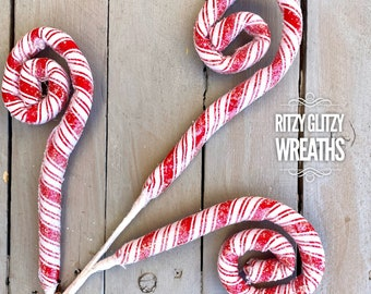 Peppermint frosted fabric curlicues, peppermint decor, wreath supplies