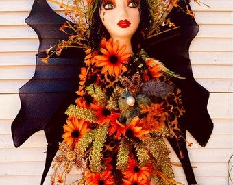 Ritzy Glitzy Wreaths Mannequin head, Fairy Wreath, Woodland Fairy wreath,  Fall wreath, Hawaiian princess, front door wreath, garden wreath