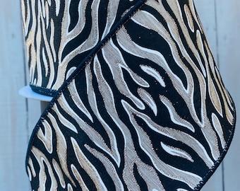 Farrisilk Ribbon, zebra Striped ribbon, Wired Ribbon, Luxury Ribbon, white and black and gold ribbon, Wreath Supplies