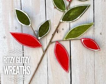 Magnolia Velvet flocked edge green and red leaves, holiday velvet leaves, winter decor, craft supplies
