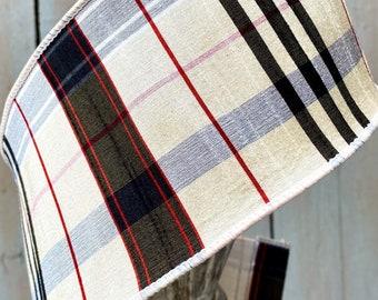 """Farrisilk Ribbon, Dupioni 4"""" tartan platinum plaid, 4"""" Wired ribbon, Luxury Ribbon, Wreath Supplies"""