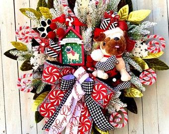 Ritzy Glitzy Wreaths Christmas Dog Wreath, Pet wreath, Front Door Wreath, Holiday Winter Decor, Christmas winter swag