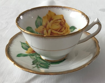 Collingwood Yellow Rose Footed Bone China Teacup and Saucer