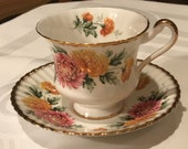 Paragon Pink Mum Flowers Footed Teacup and Saucer Double Gold Warrant