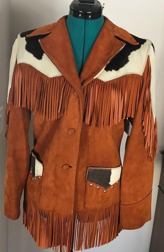Vintage 1950's Deerskin Cowhide Fringed Trego's We