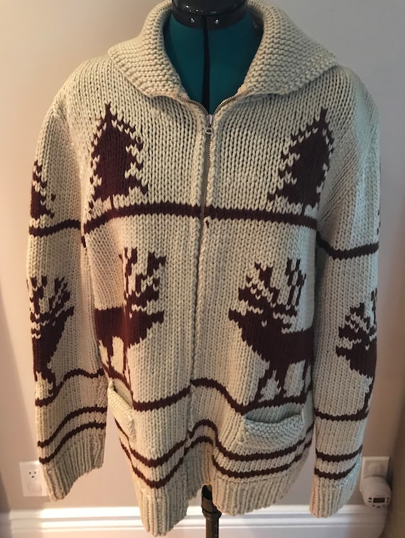 Vintage Canadian Mary Maxim Hand Knit Cowichan Swe