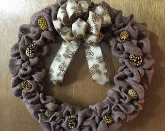 Brown Burlap and Gold Glitter Pine Cone Wreath