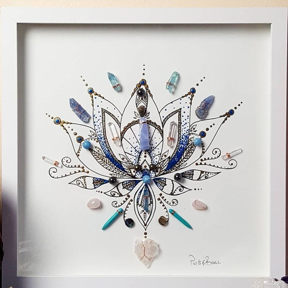 crystals save the bees bee artwork crystal art energy infused art seed of life bee art framed crystal art honey bee crystal grid