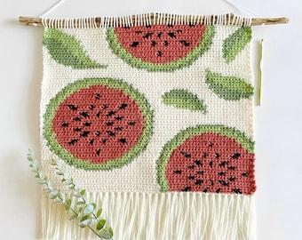 Crochet Pattern   The Watermelon Garden Wall Hanging   Wall Hanging Crochet Pattern   Watermelon Crochet Pattern   Instant Download   PDF