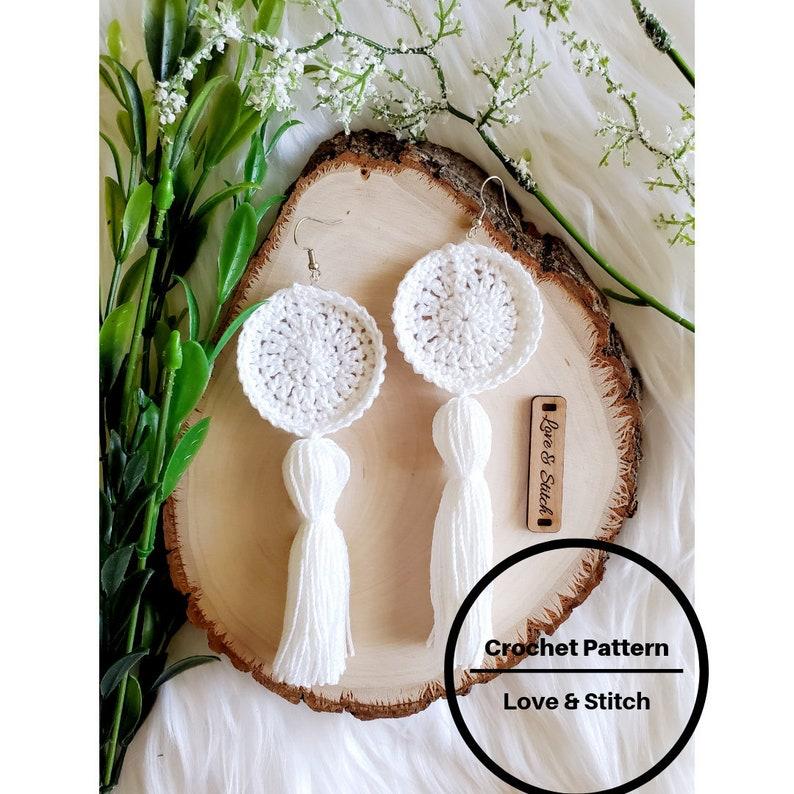 Crochet Pattern  Crochet Earrings Pattern  Earrings Pattern image 1