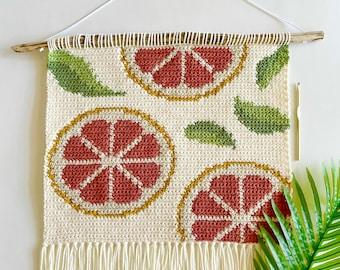 Crochet Pattern   The Through The Grapefruit Trees Wall Hanging   Wall Hanging Crochet Pattern   Grapefruit Crochet Pattern   PDF