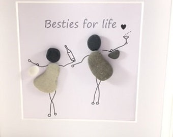 Pebble Art Best Friend Gift Besties For Life Birthday Family Her Anniversary Personalised Quirky Gifts