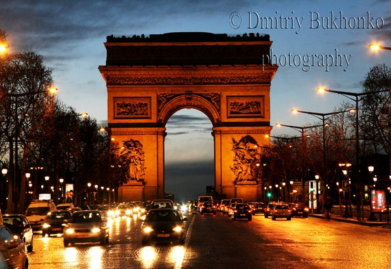 Paris Arc de Triomphe At Night Photography, France Wall Art, Travel Photography, Europe Wall Decor, Home Decor, Housewarming Gift