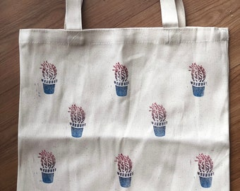 Cactus Linocut Printed Summer Bag or Grocery Tote