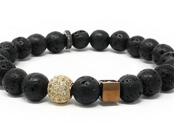 "Leboha ""Lava Collection"" Lava Beads With Accent Pieces Essential Oils Bracelet, 7.25"""