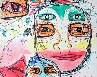 """Faces Watercolor painting 11""""x 15"""""""