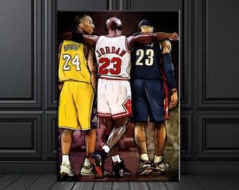 de5cfbbeb0d9 Michael Jordan Kobe Bryant Lebron James hugging each others NBA canvas