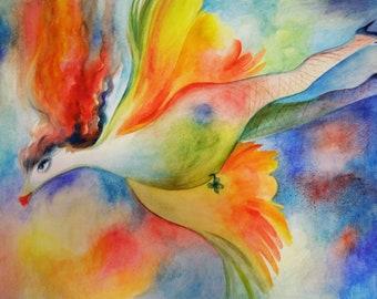 """Original Watercolor Painting """"Flying Philomena"""""""