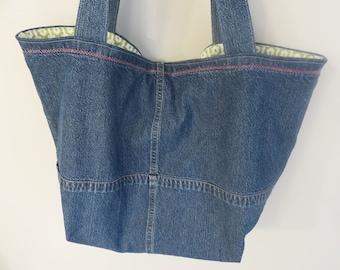 Denim Grocery Tote Bag, Handmade--Up-cycled
