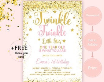 Twinkle Little Star Invitation First Birthday Pink And Gold 1st INSTANT DOWNLOAD