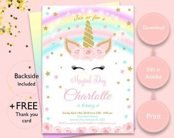 Unicorn invitations etsy magical unicorn invitation instant download unicorn invitation and get a free thank you card filmwisefo