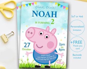 George Pig Invite Etsy
