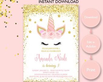 Unicorn Invitation Instant Download Etsy