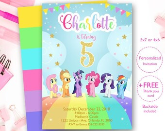 Little Pony Invites My InvitationPony Rainbow Invitation Birthday Digital File