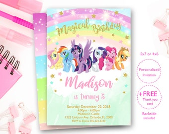 My Little Pony Invitation Invites Rainbow Birthday Digital File