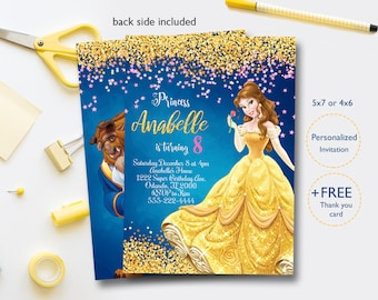 picture regarding Free Printable Beauty and the Beast Birthday Invitations called Splendor and the beast social gathering Etsy