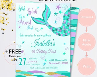 Mermaid invitation etsy mermaid invitation glitter mermaid invitation mermaid party mermaid birthday purple invitation green tail mermaid filmwisefo