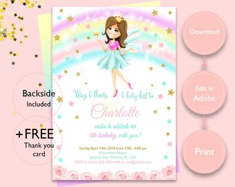 INSTANT DOWNLOAD Fairy Invitation Birthday Rainbow Printable File