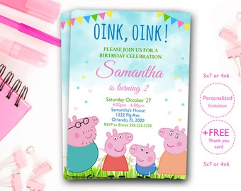 Peppa Pig Invites Invitation Party Birthday