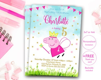 Peppa Pig Birthday Invitation Invites Party Digital File