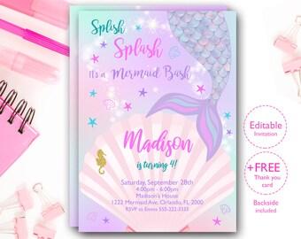 Splish Splash Invitation Magic Mermaid Birthday Instant Download