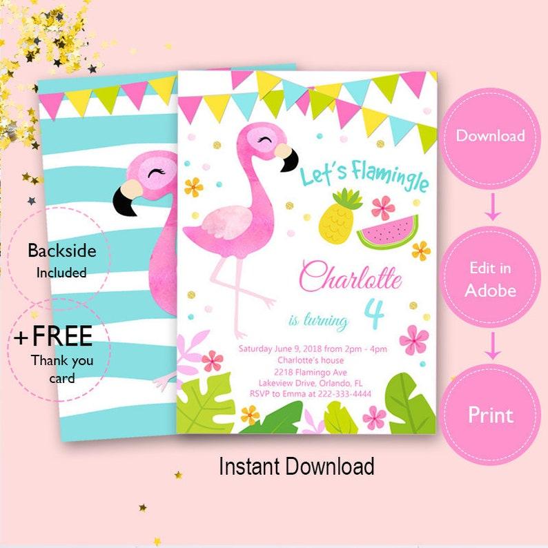 Flamingo Birthday Invitation Instant Download