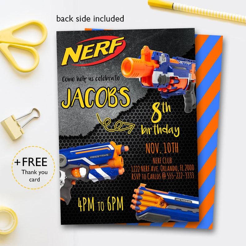 Nerf Invitations Nerf Party Invitation Nerf Birthday Invites Etsy